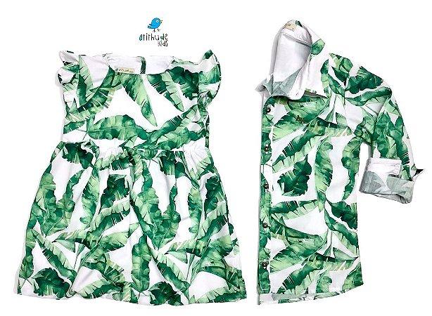 Conjunto Dado e Duda - Vestido e Camisa | Folhas