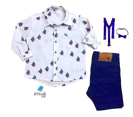 Conjunto Theo - Camisa e Bermuda Azul Royal  (quatro peças) | Barco