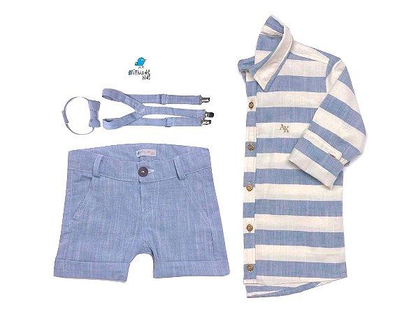 Conjunto Matheus - Camisa e Bermuda Azul Claro (quatro peças) | Linho