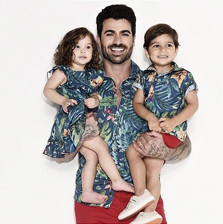 Conjunto Henry e Zoe  - Vestido e Camisa | Folhas