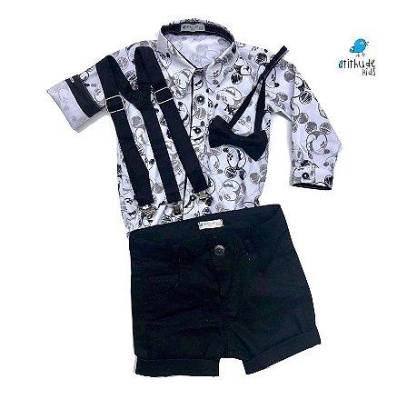 Conjunto Mickey - Camisa e Bermuda preta (quatro peças) |