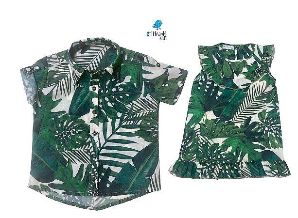 Conjunto Luke e Lala  - Vestido e Camisa | Folhas | Viscolinho