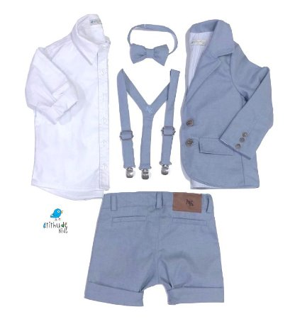 Conjunto Vittorio - Azul Petróleo| Bermuda, camisa e Blazer (5 pecas)