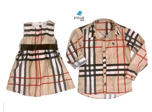 Conjunto Rafael e Rafaela - Vestido e Camisa | Xadrez Bege