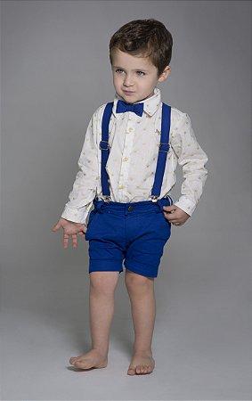 Conjunto Evair - Camisa e Bermuda Azul royal (quatro peças) | Pequeno Príncipe