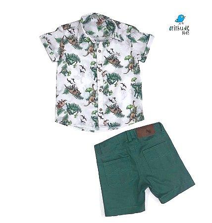 Camisa Beto - Camisa Dino e bermuda verde musgo