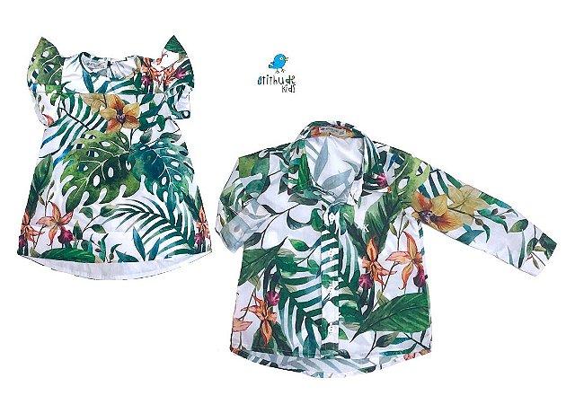 Conjunto Dai e Dom - Vestido e Camisa | Folhas | Praia
