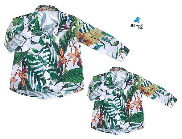 Kit camisa Dom - Tal pai, tal filho (duas peças)   Folhas Branca   Surf