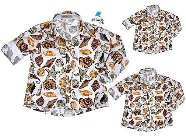Kit camisa Bruno  -  Fundo do mar | Família (três peças) | Manga Longa