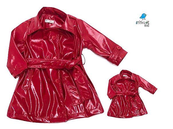 Kit Trench Coat - vermelho - Tal mãe, tal filha  (duas peças)