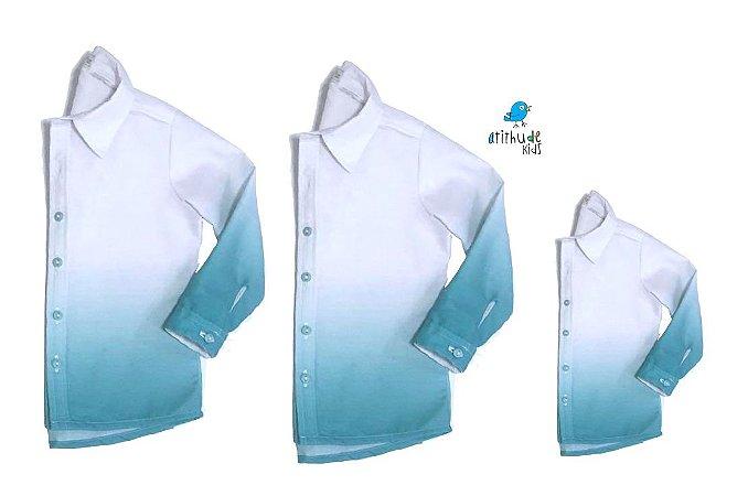 Kit camisa Enzo  - Verde Tie Dye | Família (três peças) | Manga Longa