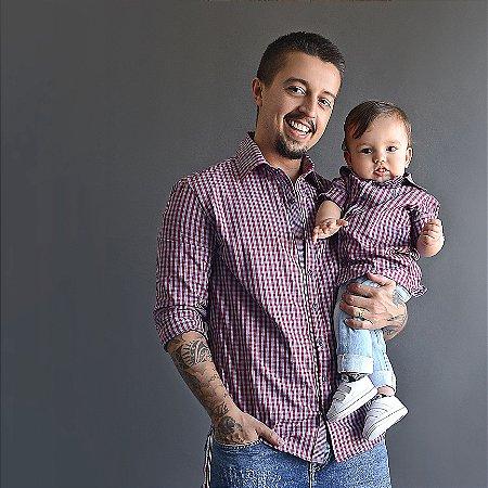 Kit camisa Cadú - Xadrez Lilás |  Tal pai, tal filho (duas peças) |Fazendinha