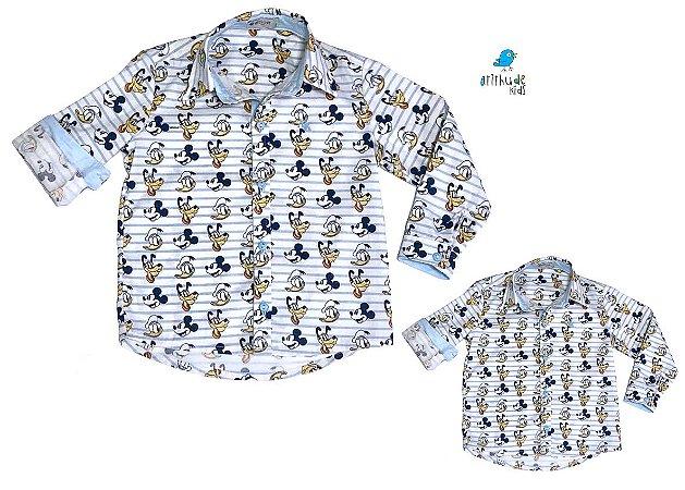 Kit camisa Mickey Pato Donald Pluto - Tal pai, tal filho (duas peças) | Personalize com as inicias dos nomes
