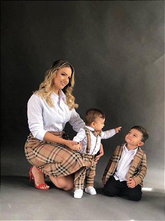 Saia Midi Rafaela -   Xadrez Bege  | Suede | Adulto