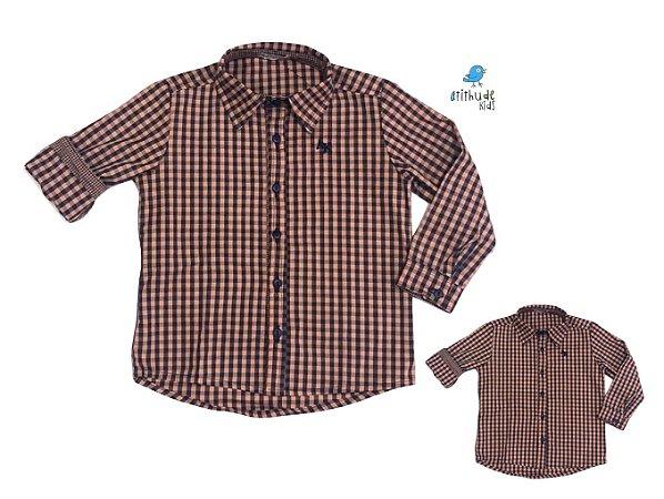 Kit Camisa Cadú - xadrez laranja | Tal mãe, tal filho  (duas peças) | fazendinha