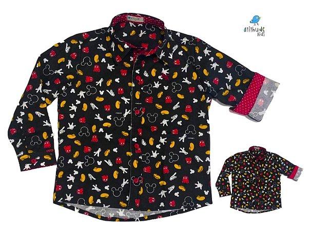 Kit camisa Mickey -  Preta | Tal pai, tal filho (duas peças) | Personalize com as inicias dos nomes