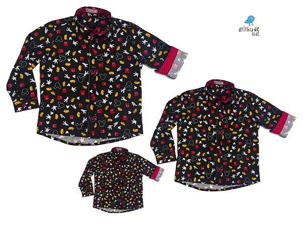 Kit camisa Mickey  -  Preta - Família (três peças) | Manga Longa | Mickey
