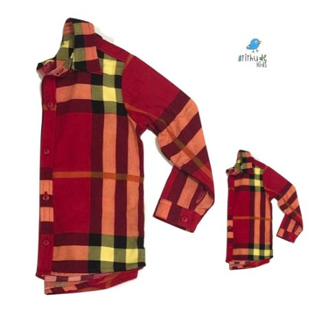 Kit Camisa Olavo - xadrez vermelho| Tal mãe, tal filho  (duas peças) | fazendinha