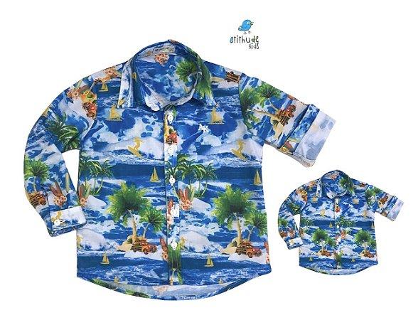 Kit camisa Max - Hawaii| Tal pai, tal filho (duas peças)