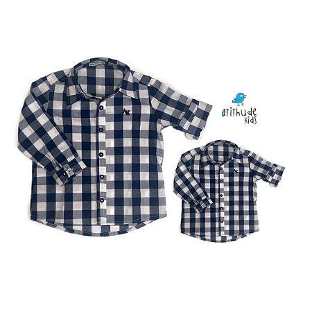 Kit Camisa Cadú - Tal mãe, tal filho (a) (duas peças) | Xadrez Azul Marinho
