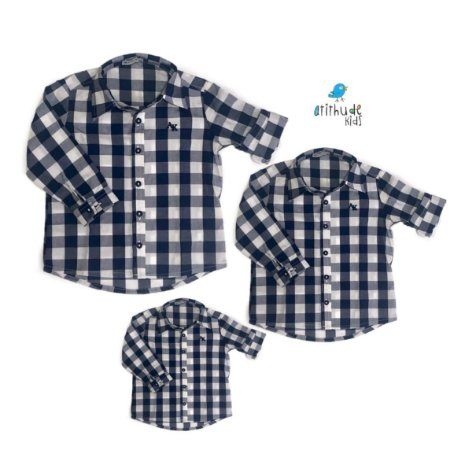 Kit camisa Cadú - Família (três peças) | Xadrez Azul Marinho