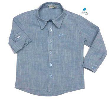 Camisa Fausto - Azul     Linho  Adulto