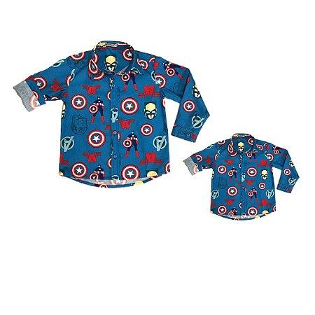 Kit camisa Nicky - Tal pai, tal filho (duas peças)  Avengers   Capitão América