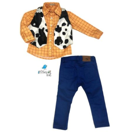 Conjunto Woody   Três Peças   Camisa, colete e calça   Toy Story