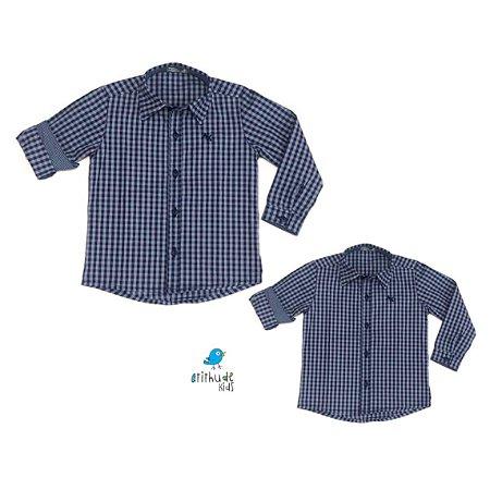 Kit Camisa Cadú - xadrez Azul  Tal mãe, tal filho  (duas peças)   fazendinha