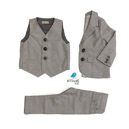 Conjunto Be | Cinza | Blazer, colete e calça | (Três peças) Pajem | Batizado
