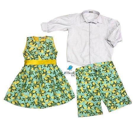 Conjunto Limões -Camisa, bermuda e Vestido Beatrice | Look irmãos