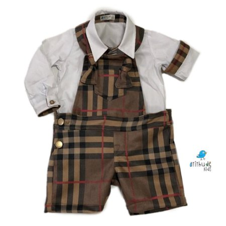 Conjunto macaquinho e camisa com detalhes Xadrez Rafael Suede | (duas peça)