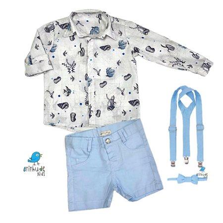 Conjunto Kauã - Camisa, bermuda e acessórios   Fundo do mar ( 4 peças)