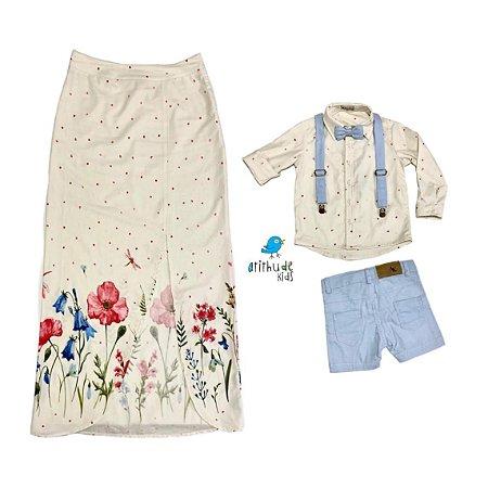 Conjunto Tal mãe, tal filho Clara e Caio | Saia, camisa, bermuda e acessórios (5 peças)