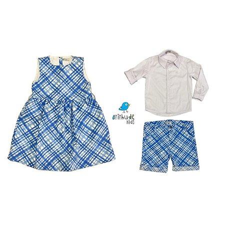 Conjunto Mari e Marcus   Xadrez azul ( 3 peças) Camisa, bermuda e vestido