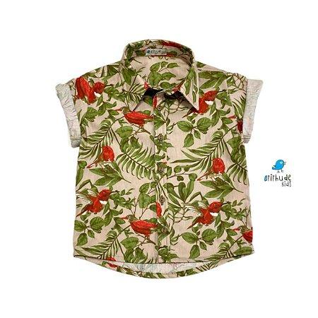 Camisa Luiz | Estampada folhas e pássaros  (Adulto)