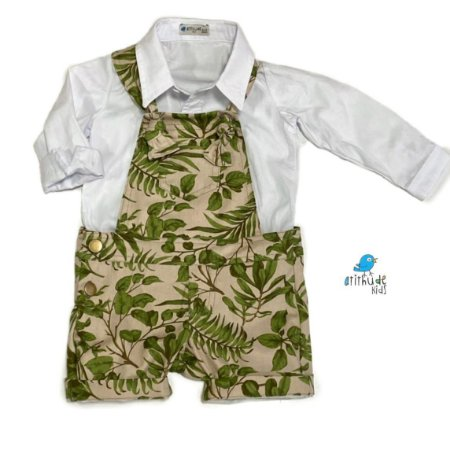 Jardineira Luke | estampada folhas ( Safári )