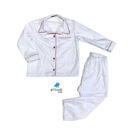 Pijama Lu| Branco com detalhes vermelhos