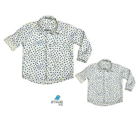 Kit camisa Guto - Tal pai, tal filho (duas peças) | Poá aquarelado azul