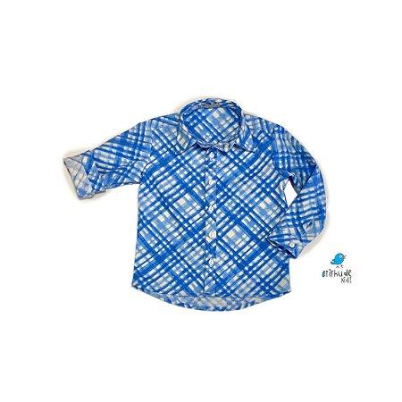 Camisa Marcus - Xadrez azul e branco