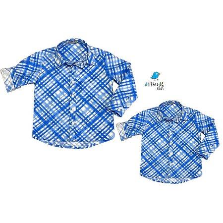 Kit camisa Marcus - Tal pai, tal filho (duas peças) | Xadrez azul e branco