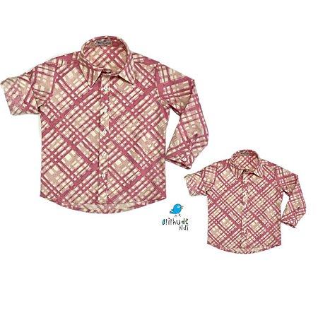 Kit camisa Marcus - Tal pai, tal filho (duas peças) | Xadrez rosa e off white