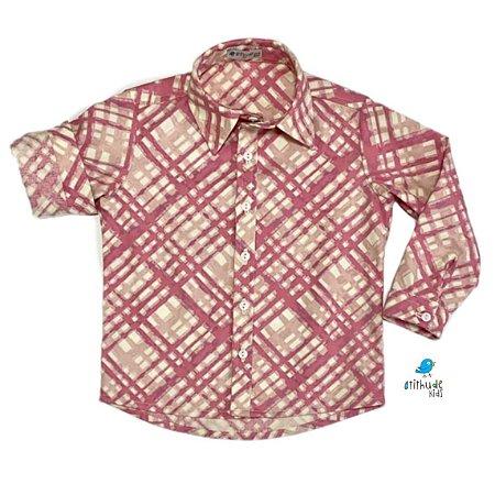 Camisa Marcus / Mari - Xadrez rosa e off white | Adulto - Fazendinha