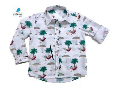 Camisa Frank - Estampa Praia - Pronta entrega