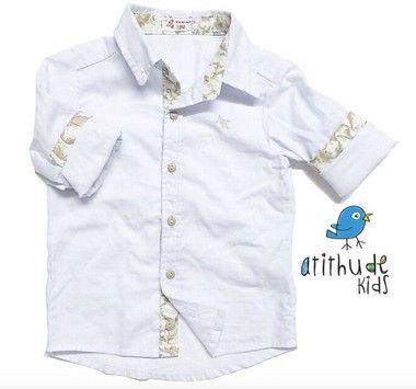 Camisa João Gabriel - Branca com detalhe estampado | Pronta entrega