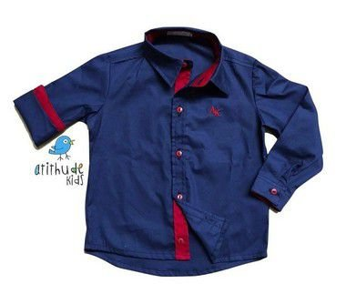 Camisa Léo - Azul Marinho e Vermelho | Adulto - Pronta entrega