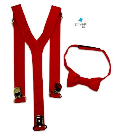 Kit suspensório + gravata borboleta - Vermelho