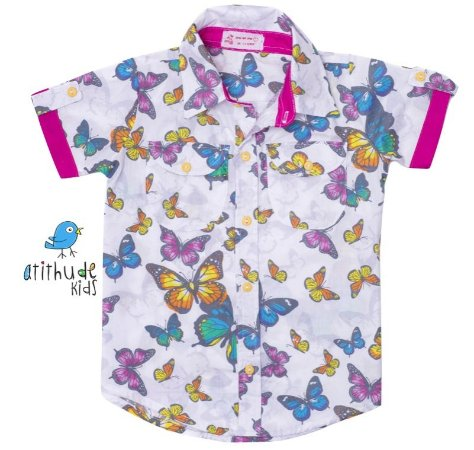 Camisa Clara - Floral borboleta