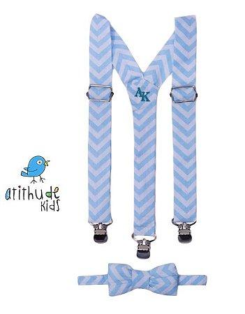 Kit suspensório + gravata borboleta - Listrado Azul  Bebê