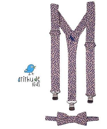 Kit suspensório + gravata borboleta - Poá bege e lilás
